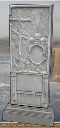 фото Памятники ритуальные из кевларобетона, стела Крест с овалом с подставкой